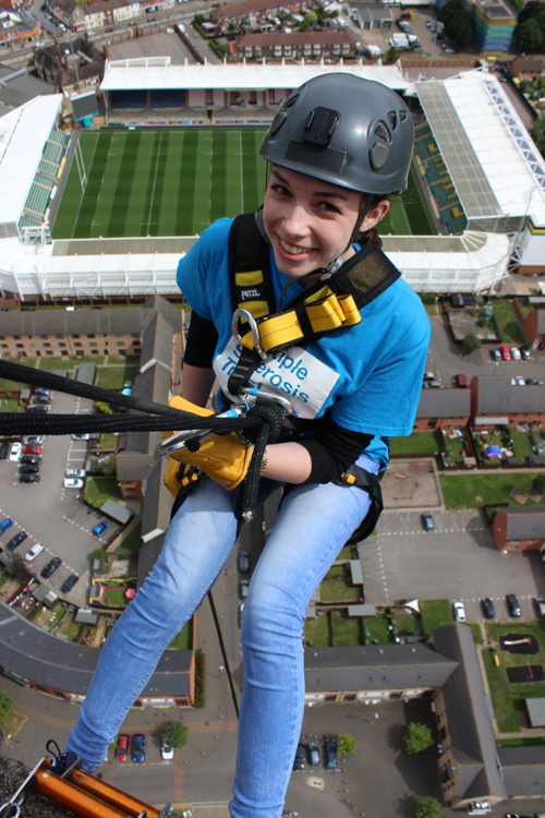 Daisy during her abseil