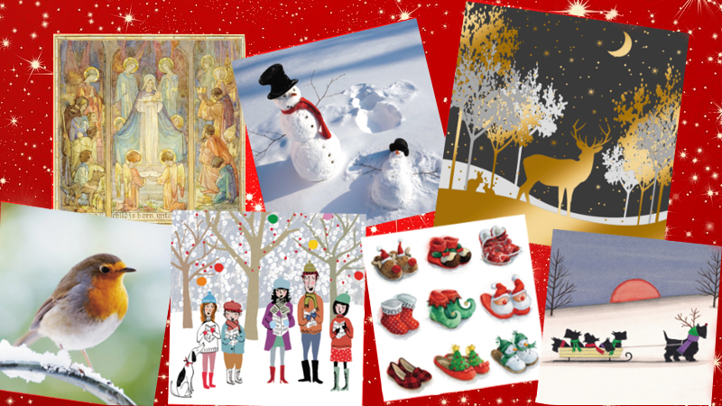 Selection of MS Trust Christmas cards on red starry background