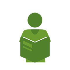 Illustration of person reading literature