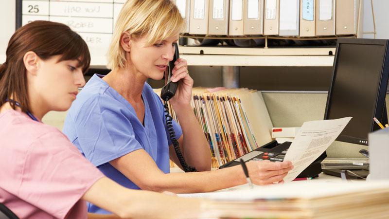 MS nurses on the phone