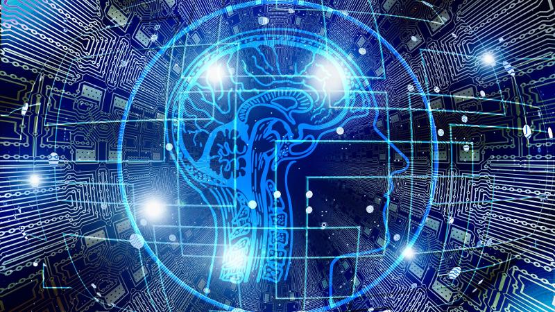Blue brain on digital background