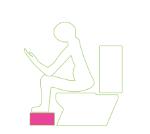 diagram of the correct posture when sat on the toilet