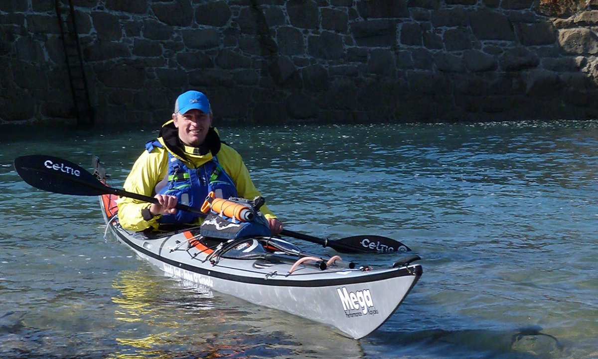 Glyn Brackenbury kayaking from Lands End to John O'Groats for the MS Trust