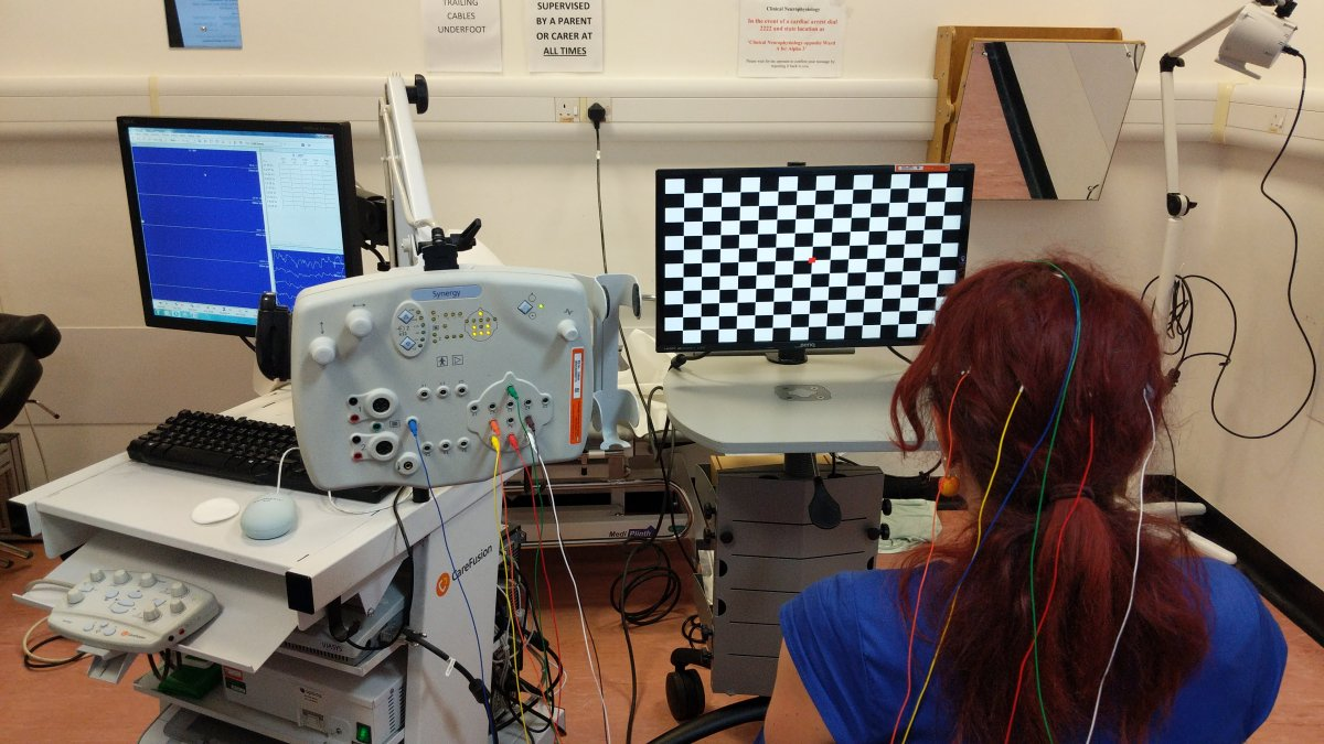 Picture of person having a Visual evoked potential test