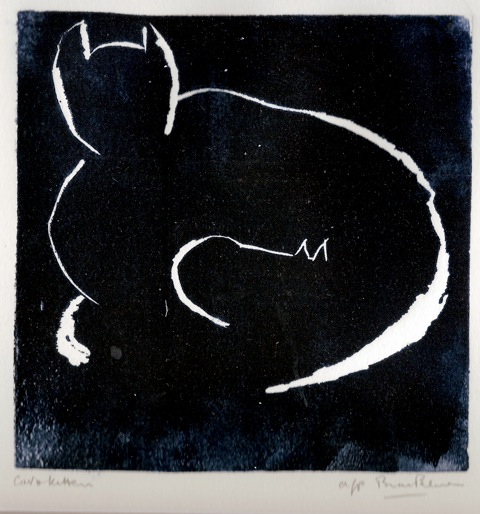 Piece of art- white outline of cat on black background