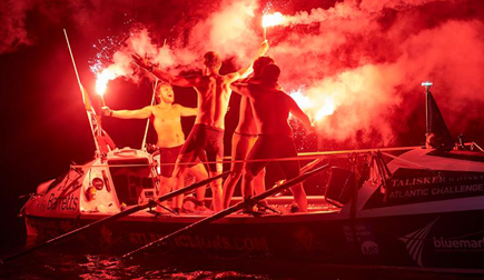 Lions setting off flares as they arrive in Antigua