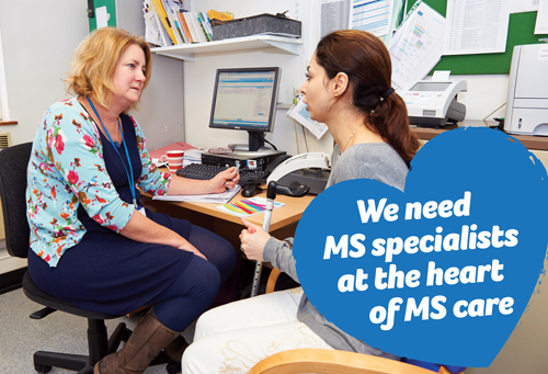 MS nurse with person with multiple sclerosis