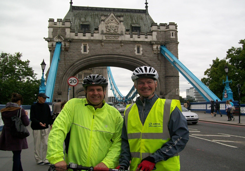 Rick and Pete in front of Tower Bridge