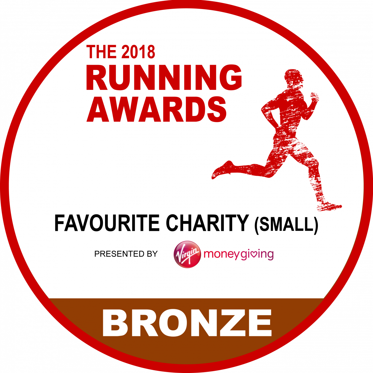 Running awards 2018 best small charity BRONZE logo