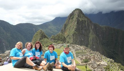 Group of Peru trekkers in front of Machu Picchu