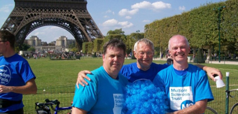 Rick Halsall and friends outside Eiffel Tower