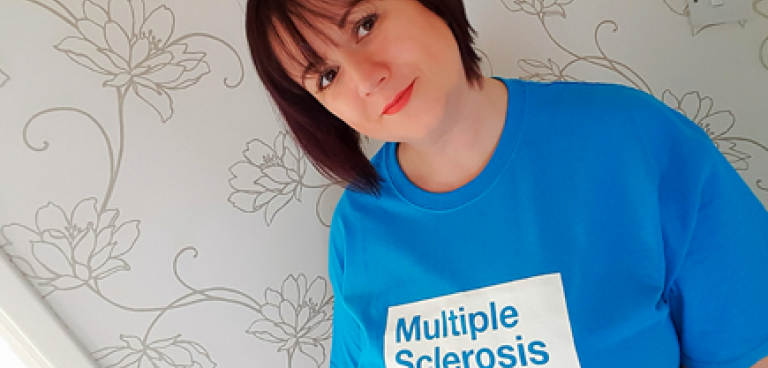 Sarah in an MS Trust T-shirt
