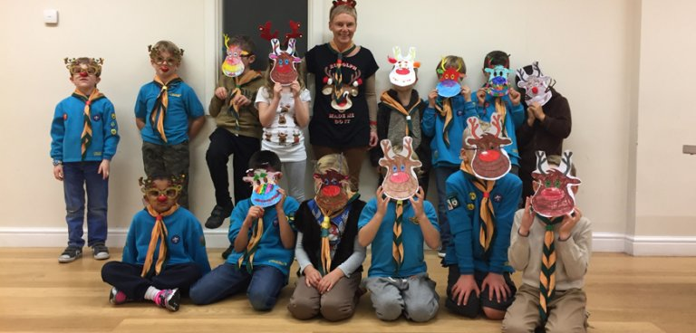 Beaver group in reindeer masks
