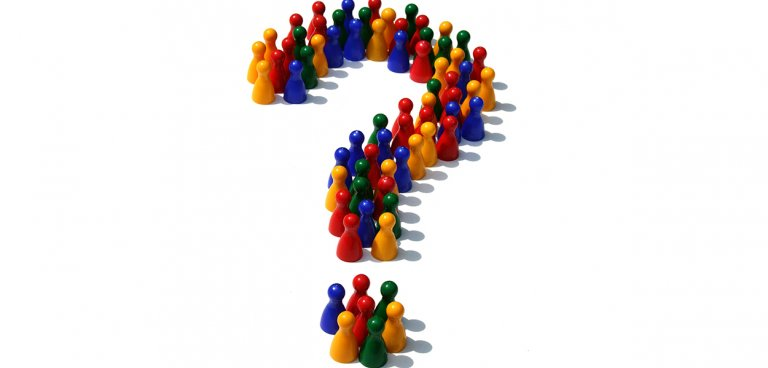 Little figures forming a question mark