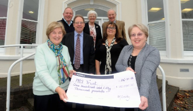 Pam and Jo accepting cheque from Helen Ley Charitable Trust