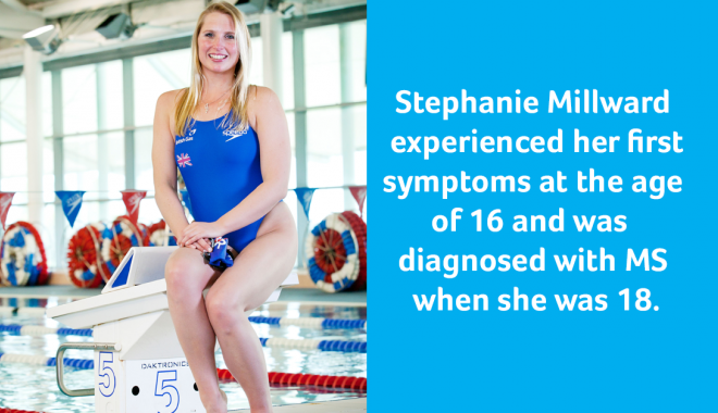 Stephanie Millward experienced her first symptoms at the age of 16 and was diagnosed with MS when she was 18.