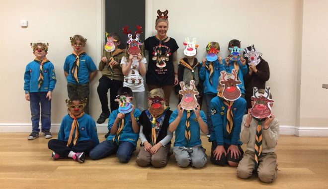Beavers dressed as reindeer