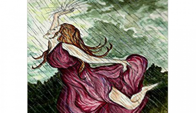 Illustration of woman dancing in the rain