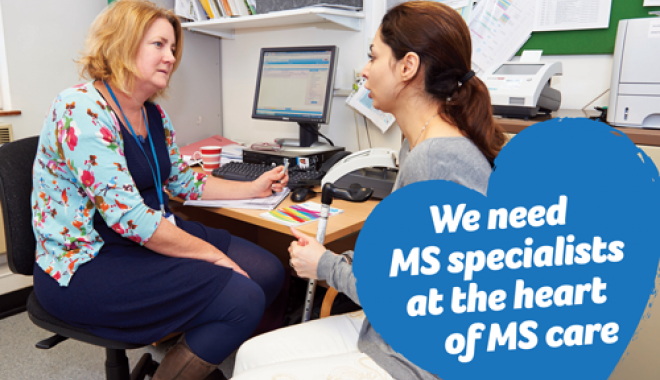 MS nurse talking to person with MS