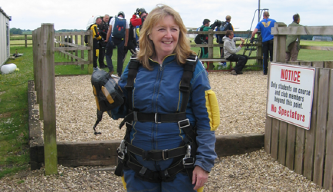 Judi Hall skydiving