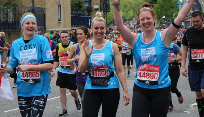 Three MS Trust London Marathon runners
