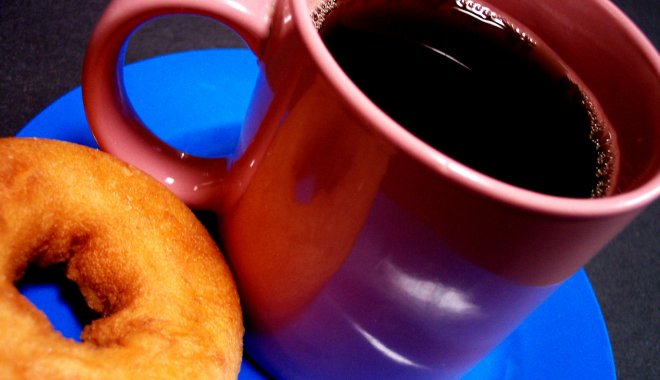 donut and mug of coffee