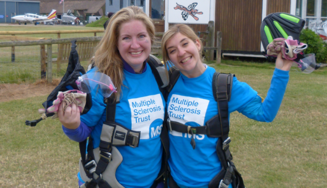 Two MS Trust skydivers