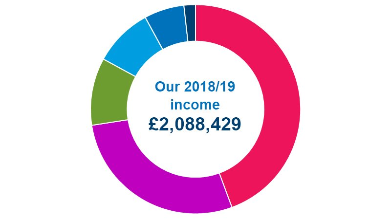 Pie chart showing breakdown of 2018/19 income