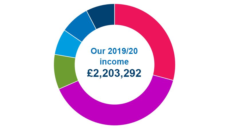 Pie chart showing breakdown of 2019/20 income