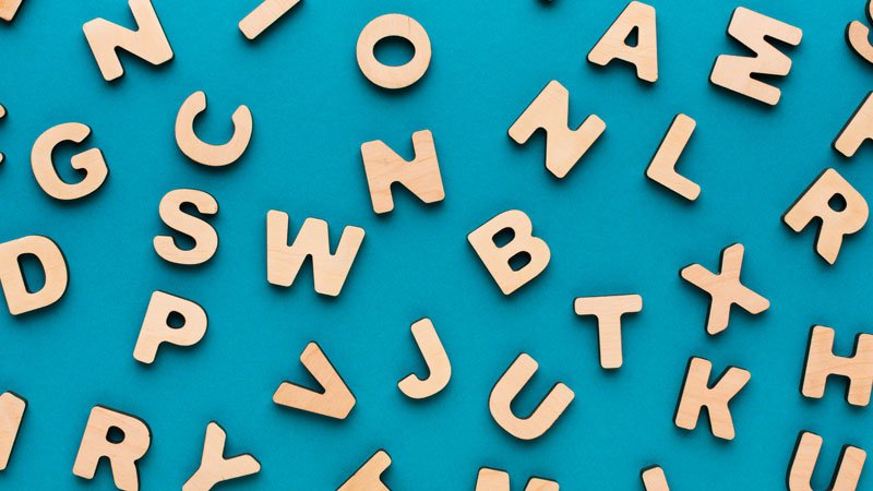 Letters on a blue background
