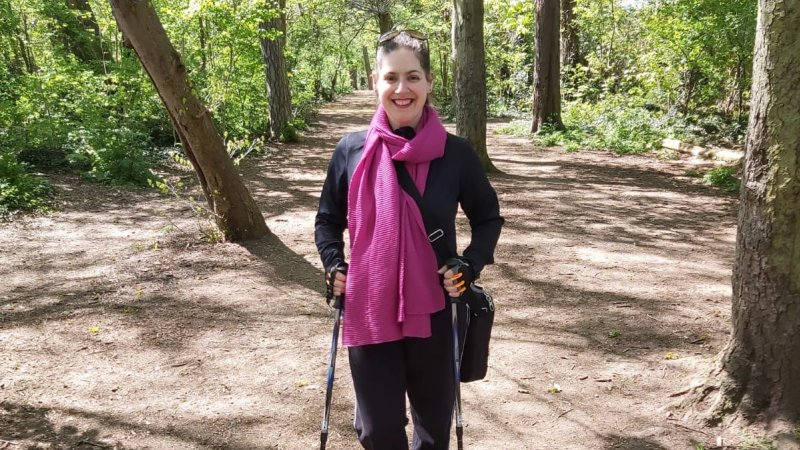 Image of Carla King using crutches