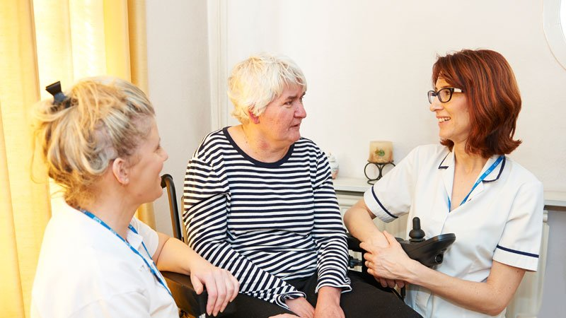Health professionals with patient
