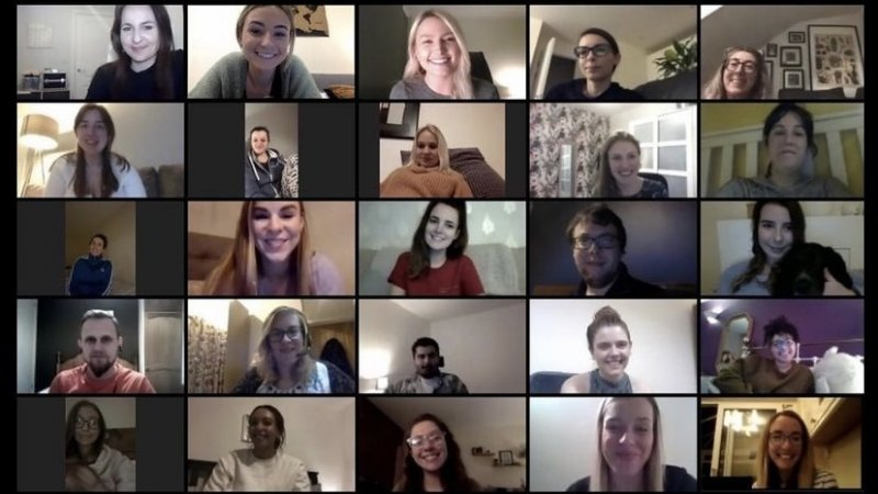 Image shows 25 members of the MS Together support group taking part in a Zoom call.