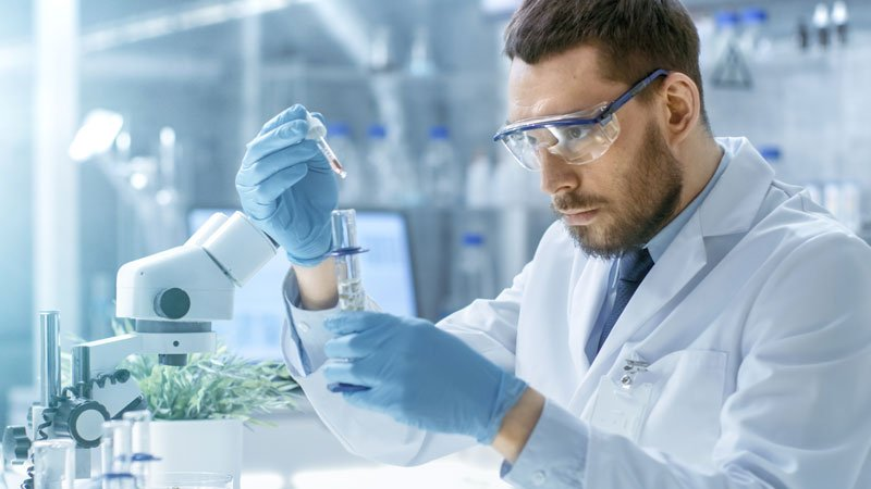 Scientist conducting medical research