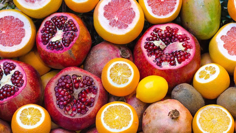 A selection of healthy fruits