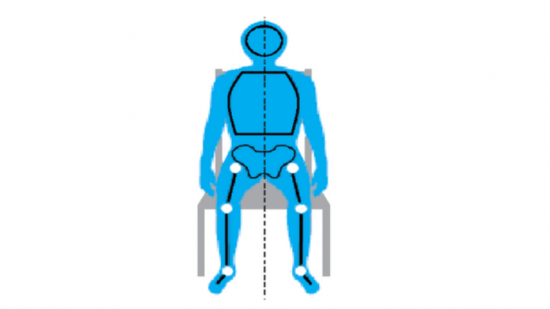 A diagram showing good posture when sitting in a chair
