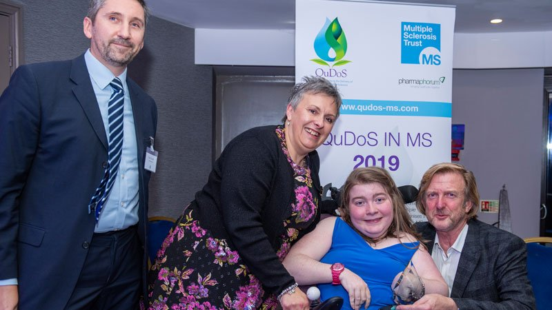 Her husband Adrian and daughter Sophie receiving an award in memory of Nicki Ward-Abel from Paul Tunnah, pharmaphorum with Karen Vernon, QuDoS judge, friend and colleague of Nicki