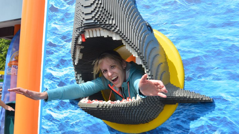 Picture of Emily inside a lego shark