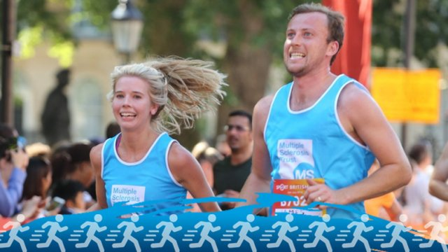Man and woman running for the MS Trust