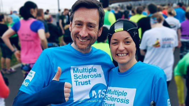 Two fundraisers in MS Trust t-shirts