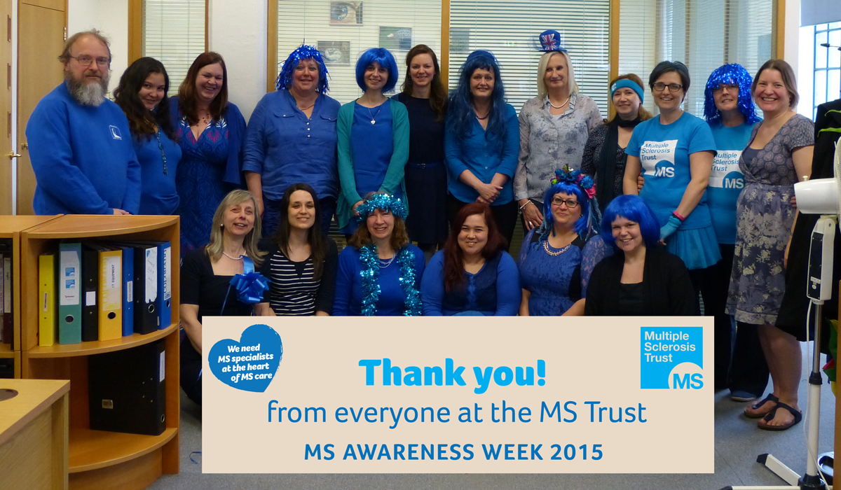 Picture of the team at the MS Trust dresses in be bold and Blue outfits