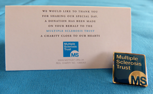 MS Trust wedding favours