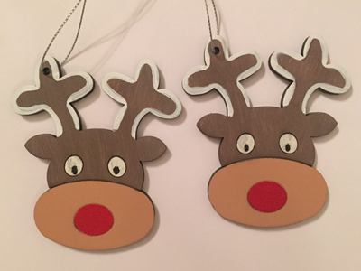 wooden tree decorations wooden reindeer tree decorations - Wooden Deer Christmas Decorations